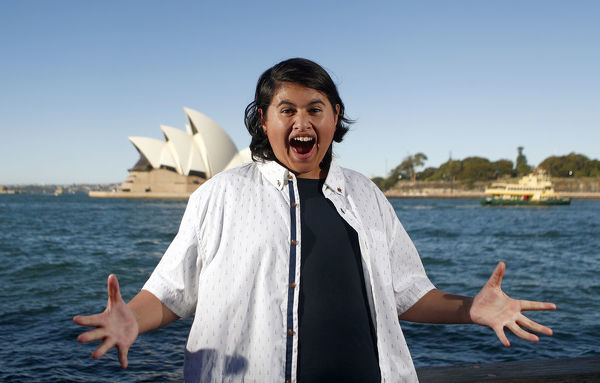 Actor Julian Dennison poses for a picture in front of the Opera House in Sydney