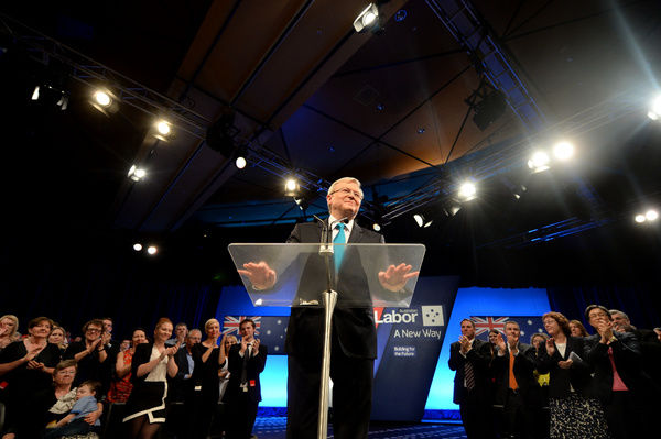 Prime Minister Kevin Rudd speaks at the Brisbane Convention and Exhibition Centre during the Labor party campaign launch in Brisbane