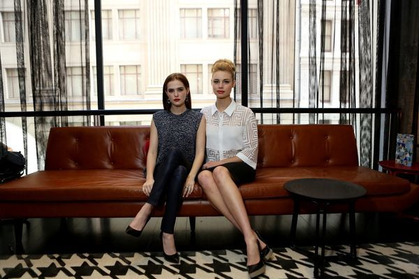 Australian actress Lucy Fry and US actress Zoe Deutch posing for a photograph in Sydney