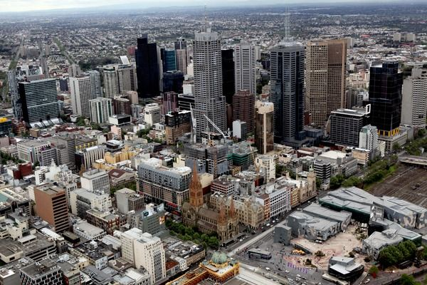 An aerial view of Melbourne city, Victoria