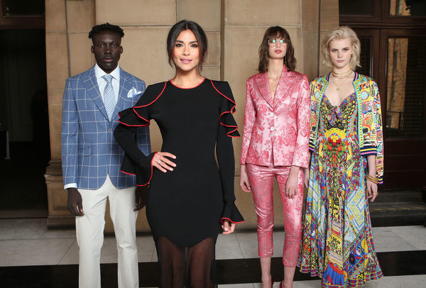 Newly announced Ambassador of Melbourne Fashion Week Pia Miller (second from left) poses for a photograph with models (L-R) Boni Bayn, Bela Palacio Hazewinkel and Tiani Lorinda following the announcement of this year's Melbourne Fashion Week
