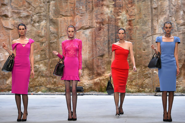 Models walk the runway wearing designs by Yeojin Bae during the Myer 2016 Autumn fashion launch dress rehearsal at The Cutaway, Barangaroo, in Sydney
