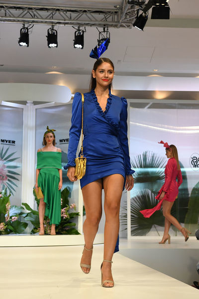 A model walks the runway during the Myer Spring Fashion Lunch at Flemington Racecourse, Melbourne, Wednesday, September 12, 2018. (AAP Image/James Ross)