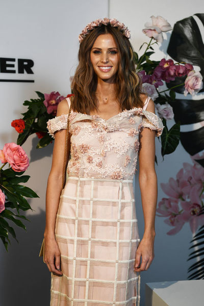 Model Brit Davis poses for a photograph during the Myer Spring Fashion Lunch at Flemington Racecourse, Melbourne, Wednesday, September 12, 2018. (AAP Image/James Ross)