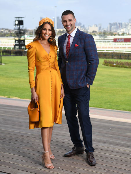 Myer Ambassadors Rachael Finch (left) and Kris Smith are seen at Myer Spring Fashion Lunch at Flemington Racecourse in Melbourne, Thursday, September 12, 2019. (AAP Image/Julian Smith)