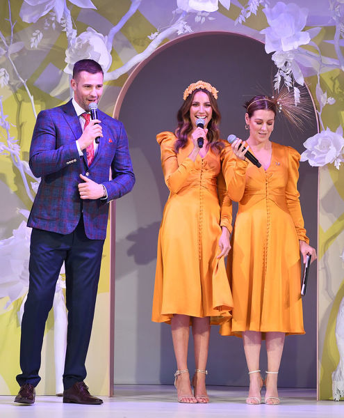 Rachael Finch (second from left) and Gorgi Coghlan (right) are seen in the same dress by designer Jonathan Simkhai as Kris Smith looks on at Myer Spring Fashion Lunch at Flemington Racecourse in Melbourne, Thursday, September 12, 2019
