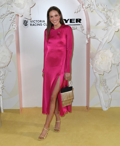 Kirsten Stanley is seen at Myer Spring Fashion Lunch at Flemington Racecourse in Melbourne, Thursday, September 12, 2019. (AAP Image/Julian Smith)