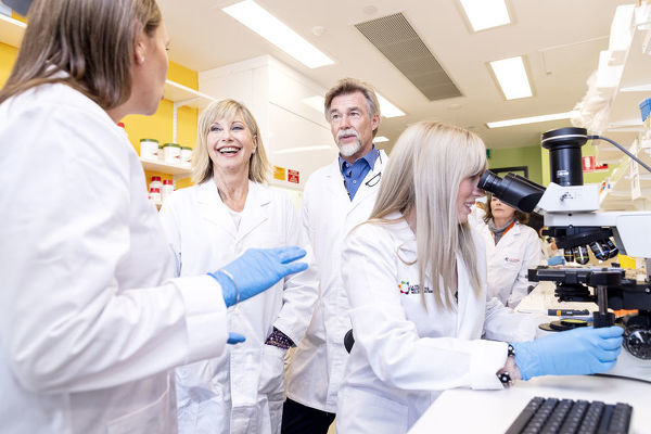 Olivia Newton-John meets with cancer researchers during a tour of the La Trobe Institute for Molecular Science at La Trobe University, Melbourne, Monday, May 14th, 2018