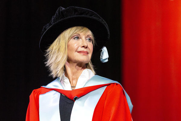 Olivia Newton-John during a special graduation ceremony where she will receive an Honorary Doctorate of Letters at La Trobe University, Union Hall, Melbourne, Monday, May 14th, 2018. (AAP Image/Daniel Pockett)