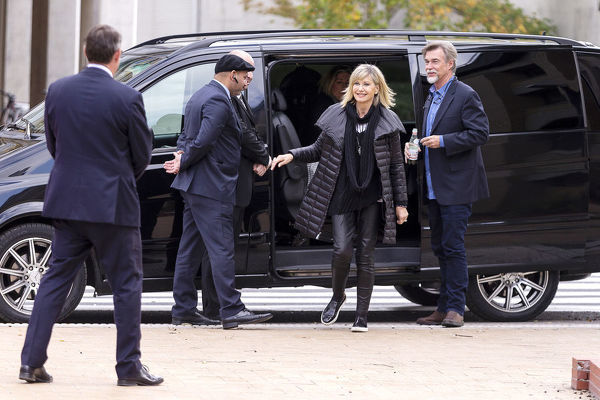 Olivia Newton-John arrives at La Trobe University, to receive an Honorary Doctorate of Letters at a special graduation ceremony a La Trobe University Union Hall, Melbourne, Monday, May 14th, 2018. (AAP Image/Daniel Pockett)