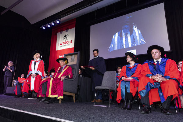Olivia Newton-John receives an Honorary Doctorate of Letters during a special graduation ceremony at La Trobe University, Union Hall, Melbourne, Monday, May 14th, 2018. (AAP Image/Daniel Pockett)
