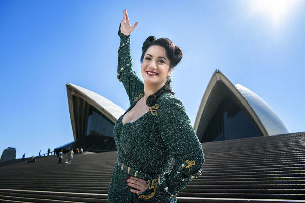 **FILE** Opera singer Natalie Aroyan poses for a photograph ahead of the 2020 season launch of 'Attila' in front of the Sydney Opera House, Sydney, Thursday, August 15, 2019. (AAP Image/Bianca De Marchi)