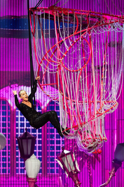 American singer Pink performs in the first Australian concert of her Beautiful Trauma World Tour at Perth Arena in Perth, Tuesday, July 3, 2018. Pink will perform in Perth, Adelaide, Melbourne, Sydney and Brisbane during a 35-date Australian tour