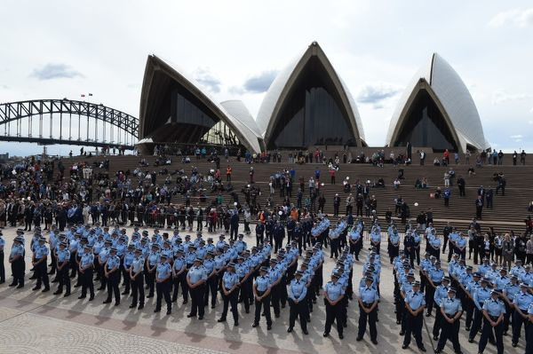 New South Wales female police officers march in Sydney to celebrate 100 years of policing