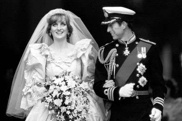 The Prince and Princess of Wales on their wedding day