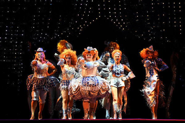 The cast from the Priscilla Queen of the Desert musical rehearse scenes during a media preview at The Capitol Theatre in Sydney, Wednesday, May 16, 2018. (AAP Image/Dean Lewins)