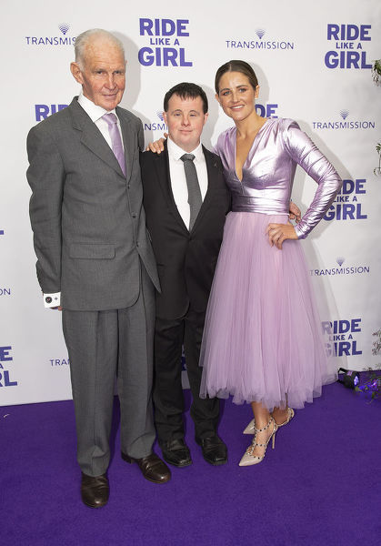 L-R Paddy Payne, Stevie Payne and Michelle Payne on the purple carpet during the World Premiere of 'Ride Like A Girl' at Village Jam Factory in Melbourne, Sunday, September 8, 2019. Ride Like A Girl is the true story of Michelle Payne