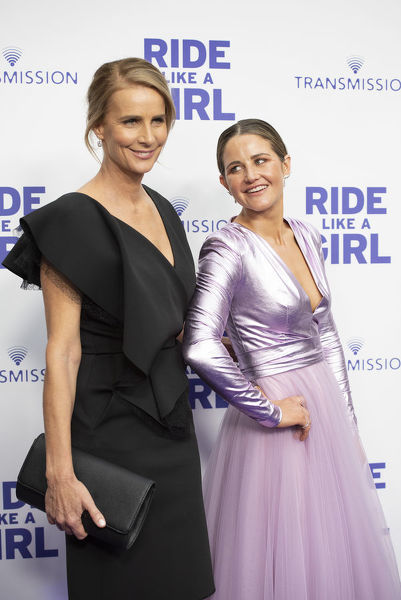 Director Rachel Griffiths and Michelle Payne on the purple carpet during the World Premiere of 'Ride Like A Girl' at Village Jam Factory in Melbourne, Sunday, September 8, 2019. Ride Like A Girl is the true story of Michelle Payne