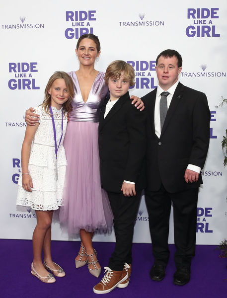 Summer North, Michelle Payne, Gryffin Morrison and Stevie Payne arrive during the World Premiere of 'Ride Like A Girl' at Village Jam Factory in Melbourne, Sunday, September 8, 2019. Ride Like A Girl is the true story of Michelle Payne