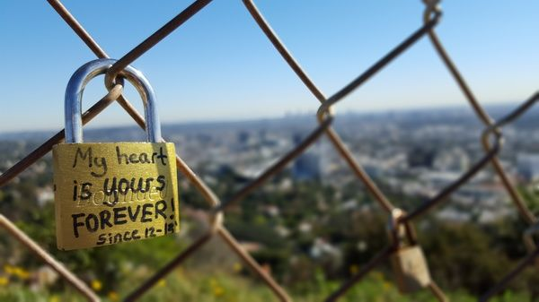 One of the locks at Runyon Canyon, Los Angeles. Runyon Canyon is a 64-hectare park on the eastern side of the Santa Monica mountains and easily accessible from the streets behind Hollywood Boulevard