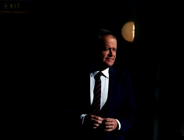 Australian Federal Leader of the Opposition Bill Shorten during a doorstop in the Press Gallery at Parliament House in Canberra