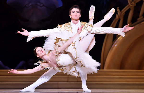 Dancers Kevin Jackson (Prince) and Lana Jones (Aurora) perform scenes from the new ballet The Sleeping Beauty at the Art Centre Melbourne in Melbourne. (AAP Image/Tracey Nearmy)