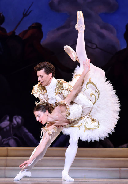 Dancers Kevin Jackson (Prince) and Lana Jones (Aurora) perform scenes from the new ballet The Sleeping Beauty at the Art Centre Melbourne
