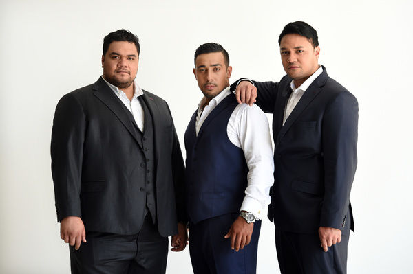 (L to R) Members of the group Sol3 Mio, Pene Pati, Moses Mackay and Amitai Pati, pose for a photograph in Sydney. (AAP Image/Paul Miller)