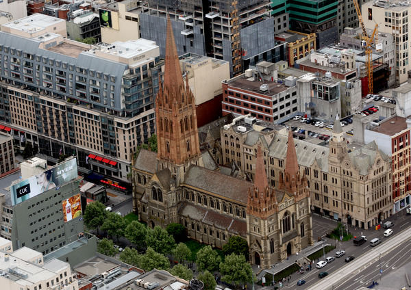 An aerial view of St Paul's Cathedral in Melbourne