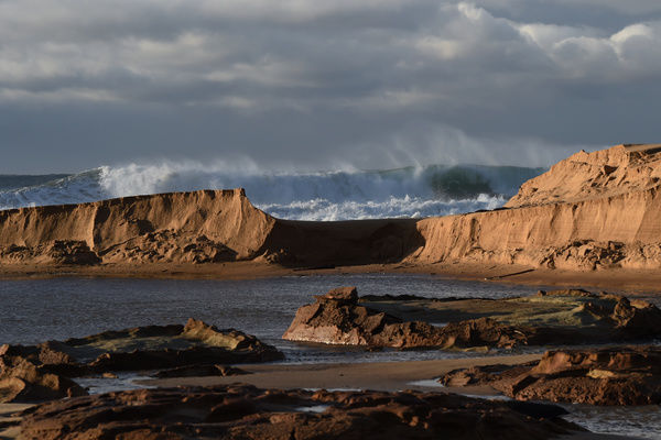 Beach erosion at Stanwell Park as wild weather and big seas continue to batter the Illawarra coastline in Wollongong