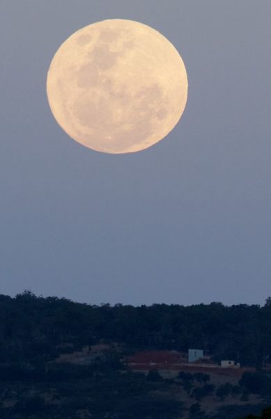 A supermoon rises over the Perth Hills in Western Australia in November 2016. The event occurs when a full or new moon passes closer to Earth in its monthly orbit
