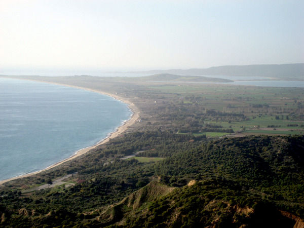 A general view looking north to Suvla Bay from Anzac Cove on the Gallipoli Peninsula in Turkey