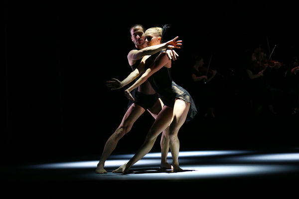 Dancers Juliette Barton and Richard Cilli from the Sydney Dance Company perform an extract from their new show Triptych at the Roslyn Packer Theatre in Sydney. (AAP Image/David Moir)