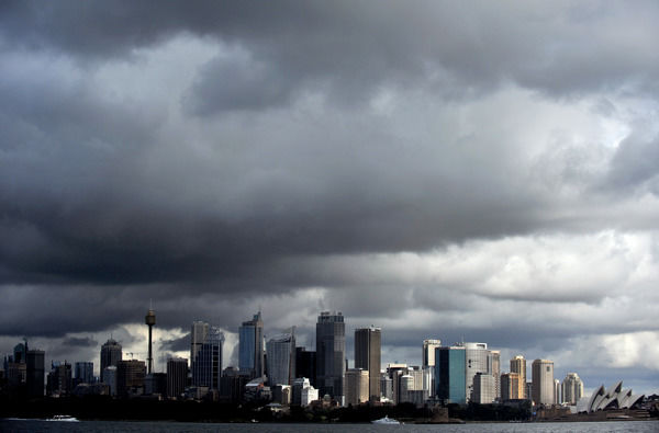 Sydney rain clouds. Rain clouds cover the city skyline in Sydney