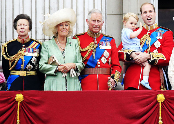 (Left-right) Princess Royal, the Duchess of Cornwall, the Prince of Wales, Prince George and the Duke and Duchess of Cambridge on the balcony at Buckingham Palace following Trooping the Colour at Horse Guards Parade, London