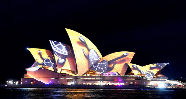 The sails on the Sydney Opera House are seen lit with an art installation called Songlines, during the official opening night of Vivid Sydney