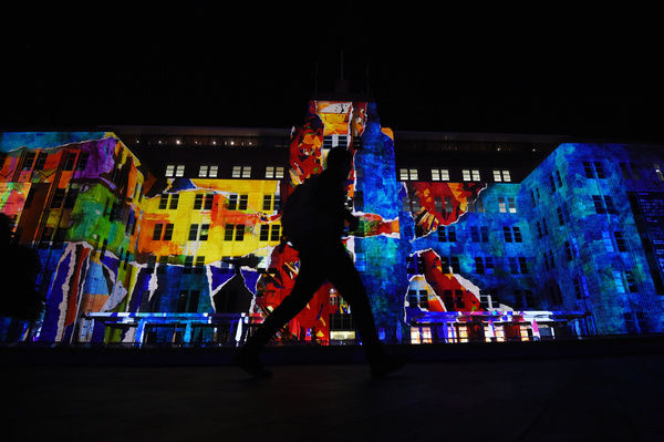 The installation 'The Matter of Painting' projected onto the Museum of Contemporary Art as part of the Vivid Sydney festival of light, Sydney, Thursday