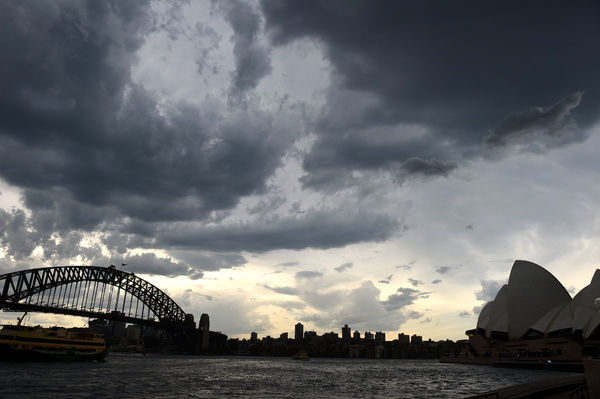 Wild Weather Sydney. Storm clouds are seen building over Sydney