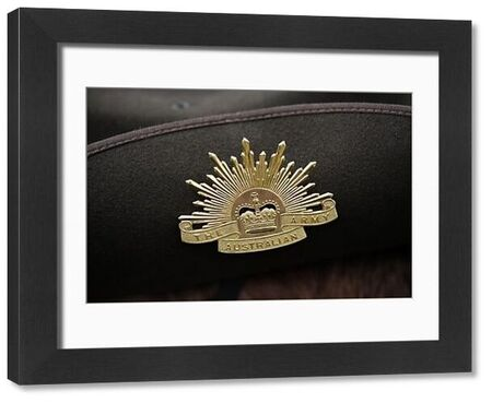 An Australian Army badge as seen during the ANZAC Day Parade at the Shrine of Remembrance in Melbourne