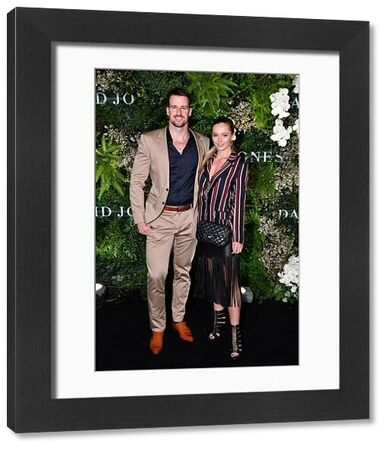 James Magnussen (left) and partner arrives at the David Jones Spring Summer 2018 Collections Launch, in Sydney, Wednesday, August 8, 2018. (AAP Image/Joel Carrett)