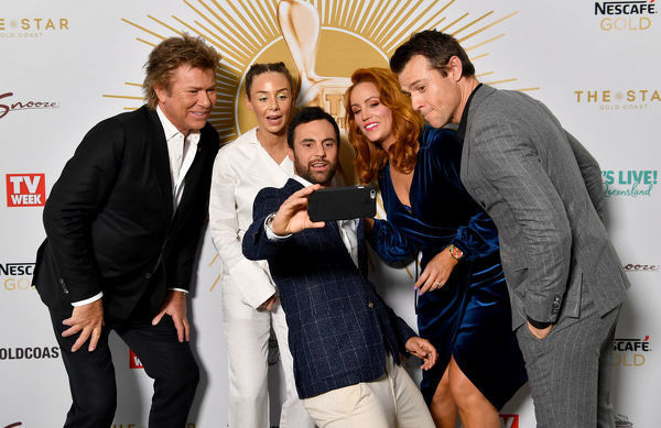 (L-R) Richard Wilkins, Heidi Latcham, Cameron Merchant, Jules Robinson and Rodger Corser are seen posing for a selfie photograph at the TV Week Logie Awards Nomination Party at The Star Casino on the Gold Coast, Sunday, May 26, 2019