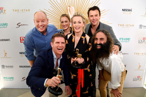 Gold Logie nominees (left to right) Tom Gleeson, Sam Mac, Eve Morey, Amanda Keller, Rodger Corser and Costa Georgiadis are seen posing for a photograph at the TV Week Logie Awards Nomination Party at The Star Casino on the Gold Coast, Sunday, May 26, 2019