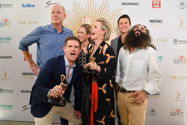 Gold Logie nominees (L-R) Tom Gleeson, Sam Mac, Eve Morey, Amanda Keller, Rodger Corser and Costa Georgiadis are seen posing for a photograph at the TV Week Logie Awards Nomination Party at The Star Casino on the Gold Coast, Sunday, May 26, 2019
