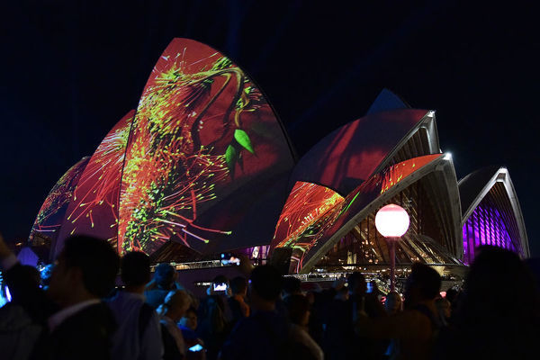 A light projection is shone onto the Sydney Opera House during the first night of Vivid Sydney 2019 in Sydney, Friday, May 24, 2019. Vivid Sydney runs from May 24 through to June 15 and is the largest festival of its kind in the southern hemisphere