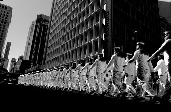 Navy personnel march during an Anzac Day parade in Brisbane