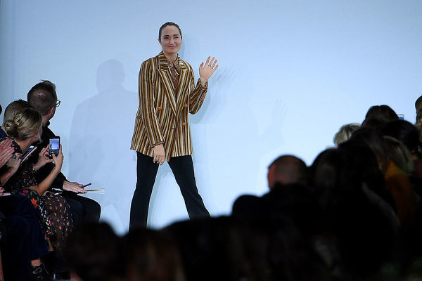 Fashion designer Ainsley Hansen gestures following her Hansen & Gretel show during Mercedes-Benz Fashion Week Australia in Sydney, Tuesday, May 15, 2018. (AAP Image/Dan Himbrechts), EDITORIAL USE ONLY