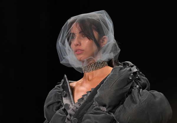 A model wears a creation by Shroud during the FDS: The Innovators show during the Mercedes-Benz Fashion Week Australia in Sydney, Wednesday, May 16, 2018. (AAP Image/David Moir), EDITORIAL USE ONLY