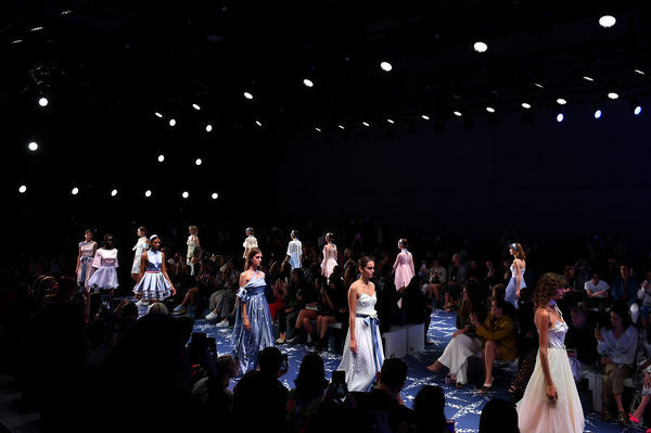A model walks the runway wearing creations by Leo & Lin during Mercedes-Benz Fashion Week Australia in Sydney, Thursday, May 17, 2018. (AAP Image/Dan Himbrechts), EDITORIAL USE ONLY