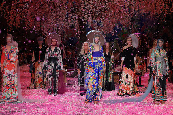 Models pose on the runway wearing creations by Camilla during Mercedes-Benz Fashion Week Australia in Sydney, Thursday, May 17, 2018. (AAP Image/Dan Himbrechts), EDITORIAL USE ONLY