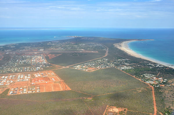 An aerial photograph of the town of Broome, Western Australia